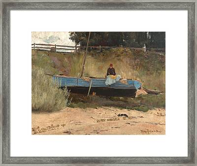 Boat On Beach, Queenscliff Framed Print by Tom Roberts