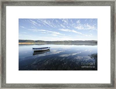 Boat On Knysna Lagoon Framed Print by Neil Overy