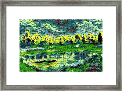 Boat On Lake Framed Print