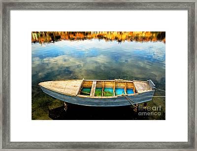 Boat On Lake Framed Print by Silvia Ganora