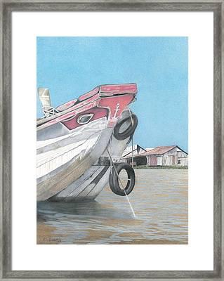 Boat On Mekong Framed Print by Wilfrid Barbier