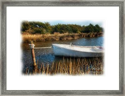 Boat On Pamlico Sound Ocracoke Island Outer Banks Ap Framed Print by Dan Carmichael
