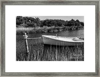 Boat On Pamlico Sound Ocracoke Island Outer Banks Bw Framed Print by Dan Carmichael
