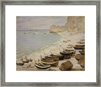 Boat On The Beach At Etretat Framed Print by Celestial Images