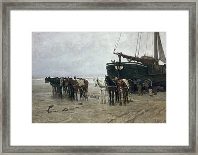 Boat On The Beach At Scheveningen Framed Print