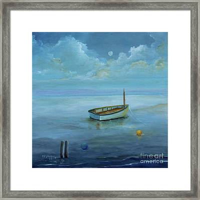 Boat On The Peaceful Day Framed Print