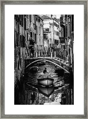 Boat On The River-bw Framed Print by Okan YILMAZ