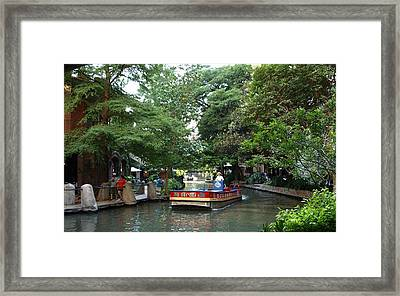 Boat On The San Antonio River Framed Print by Dennis Stein