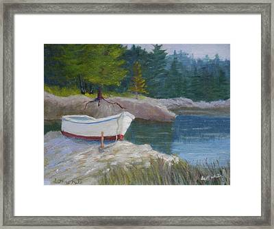 Boat On Tidal River Framed Print