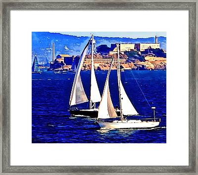 Boat Race At Alcatraz. Framed Print