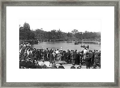 Boat Races In Central Park Framed Print by Underwood Archives