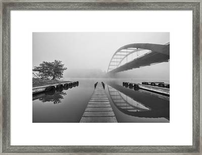 Boat Ramp Black And White At The 360 Bridge Austin Texas Framed Print by Rob Greebon