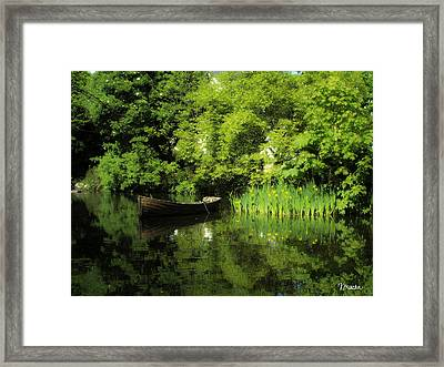 Boat Reflected On Water County Clare Ireland Painting Framed Print