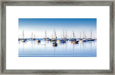 Boat Reflections Panorama Framed Print by Christopher Arndt