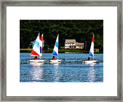 Boat - Striped Sails Framed Print