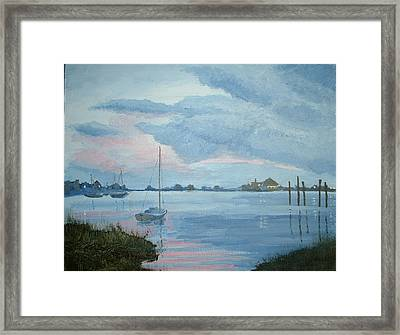 Boat Sunset Framed Print