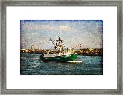 Framed Print featuring the photograph Boat Texture Manasquan Inlet by Angel Cher