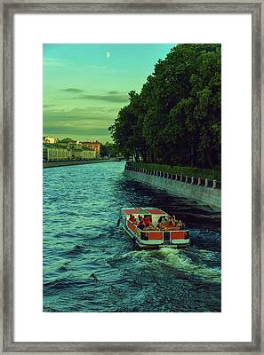 Boat Trips Along The Numerous Rivers And Canals Of The Evening St. Petersburg Framed Print
