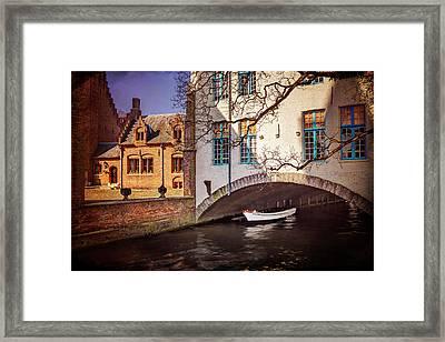 Boat Under A Little Bridge In Bruges  Framed Print