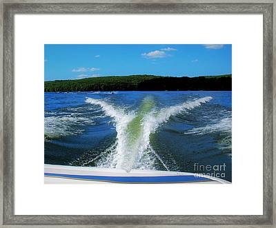 Boat Wake Framed Print by Patti Whitten
