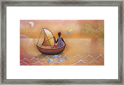 Boat With Blue Fish Framed Print by Sally Appleby