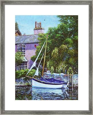 Framed Print featuring the painting Boat With Pink House On River by Martin Davey
