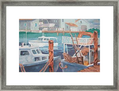 Framed Print featuring the painting Boat Works by Tony Caviston