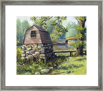 Boathouse And Battle Bridge Framed Print