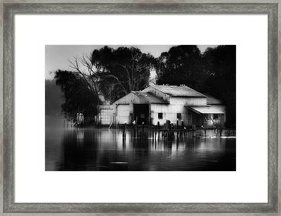 Framed Print featuring the photograph Boathouse Bw by Bill Wakeley