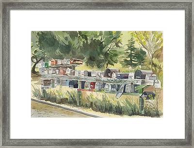 Boathouse Mailboxes Framed Print by Kate Peper