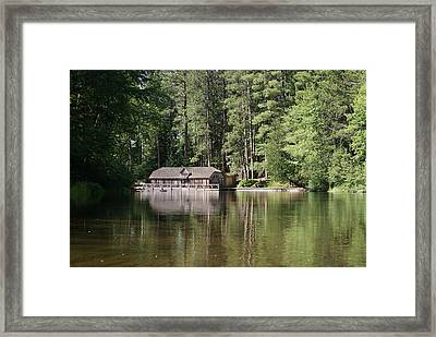 Framed Print featuring the photograph Boathouse On The Brule by Ron Read