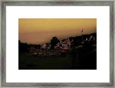 Framed Print featuring the photograph Boathouse Row From The Lagoon Before Dawn by Bill Cannon