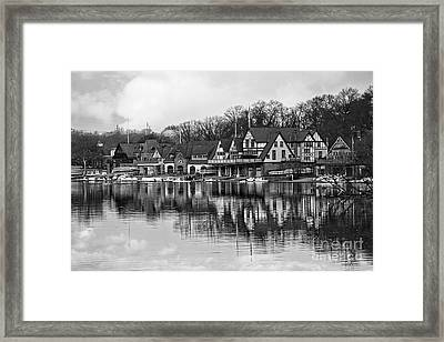 Boathouse Row In Black And White Framed Print