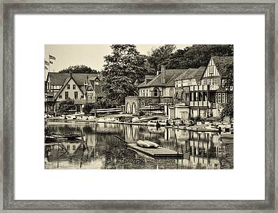 Boathouse Row In Sepia Framed Print by Bill Cannon