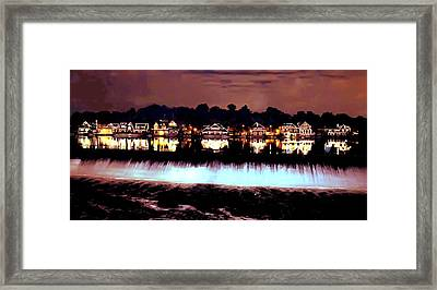 Boathouse Row In The Night Framed Print by Bill Cannon