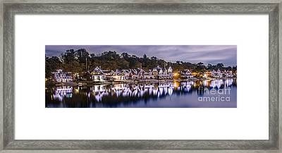 Boathouse Row Night Blue Framed Print