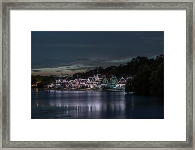 Boathouse Row Philadelphia Pa At Night  Framed Print
