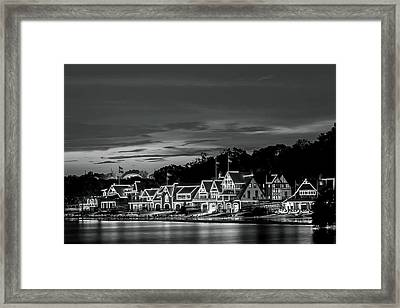 Boathouse Row Philadelphia Pa Night Black And White Framed Print