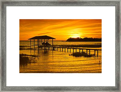 Boathouse Sunset Framed Print by Rich Leighton