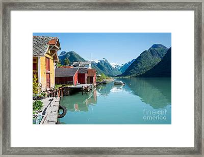 Boathouse With Mountains And Reflection In The Fjord In Norway Framed Print