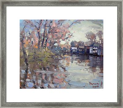 Boathouses At Eastern Park And Kayak Launch  Framed Print