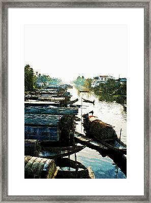 Boathouses In Vietnam Framed Print