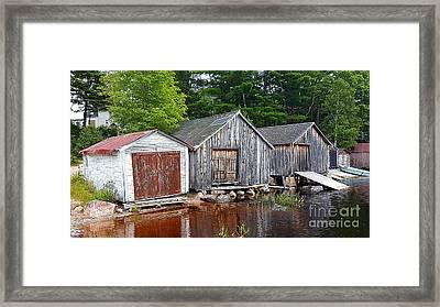 Boathouses - Mcadam Nb Framed Print