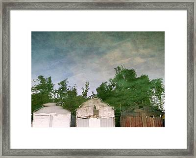 Boathouses With Sky And Trees Framed Print by Michelle Calkins
