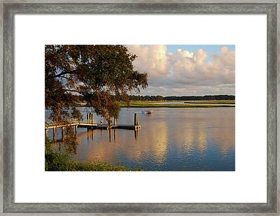 Boating At Sunset Framed Print by Margaret Palmer