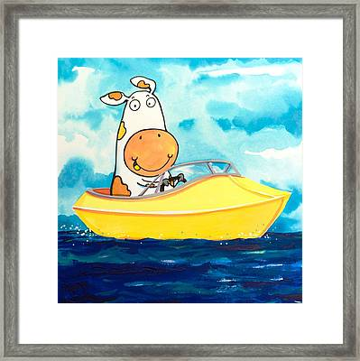 Boating Cow Framed Print
