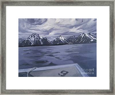 Framed Print featuring the painting Boating Jenny Lake, Grand Tetons by Erin Fickert-Rowland