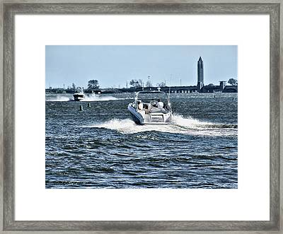 Boating Off Of Jones Beach Framed Print by Mikki Cucuzzo