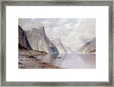 Boating On A Norwegian Fjord Framed Print by Johann II Jungblut