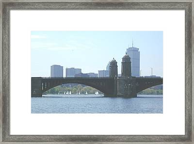 Boating On The Charles Framed Print by Laura Lee Zanghetti